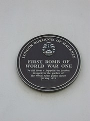 Photo of first bomb of World War One to fall from a zeppelin on London blue plaque