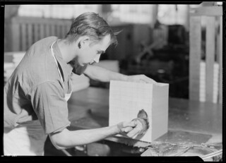 Robert Smith, Lynn Gardens, Kingsport, Tennessee. Smith is a glue-off operator at the Kingsport Press. This man is largely of rural antecedents, November 1933