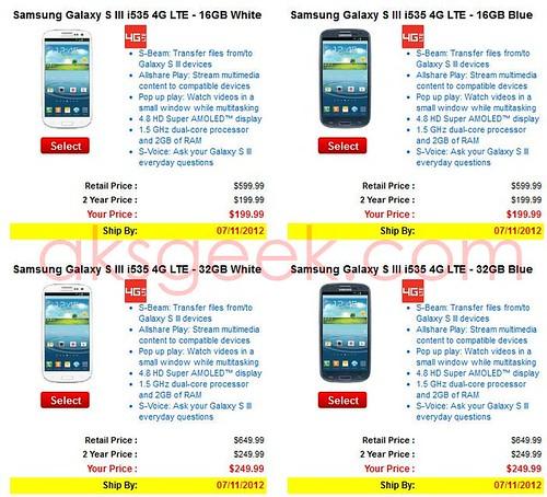 Verizon Samsung Galaxy S III 4G price