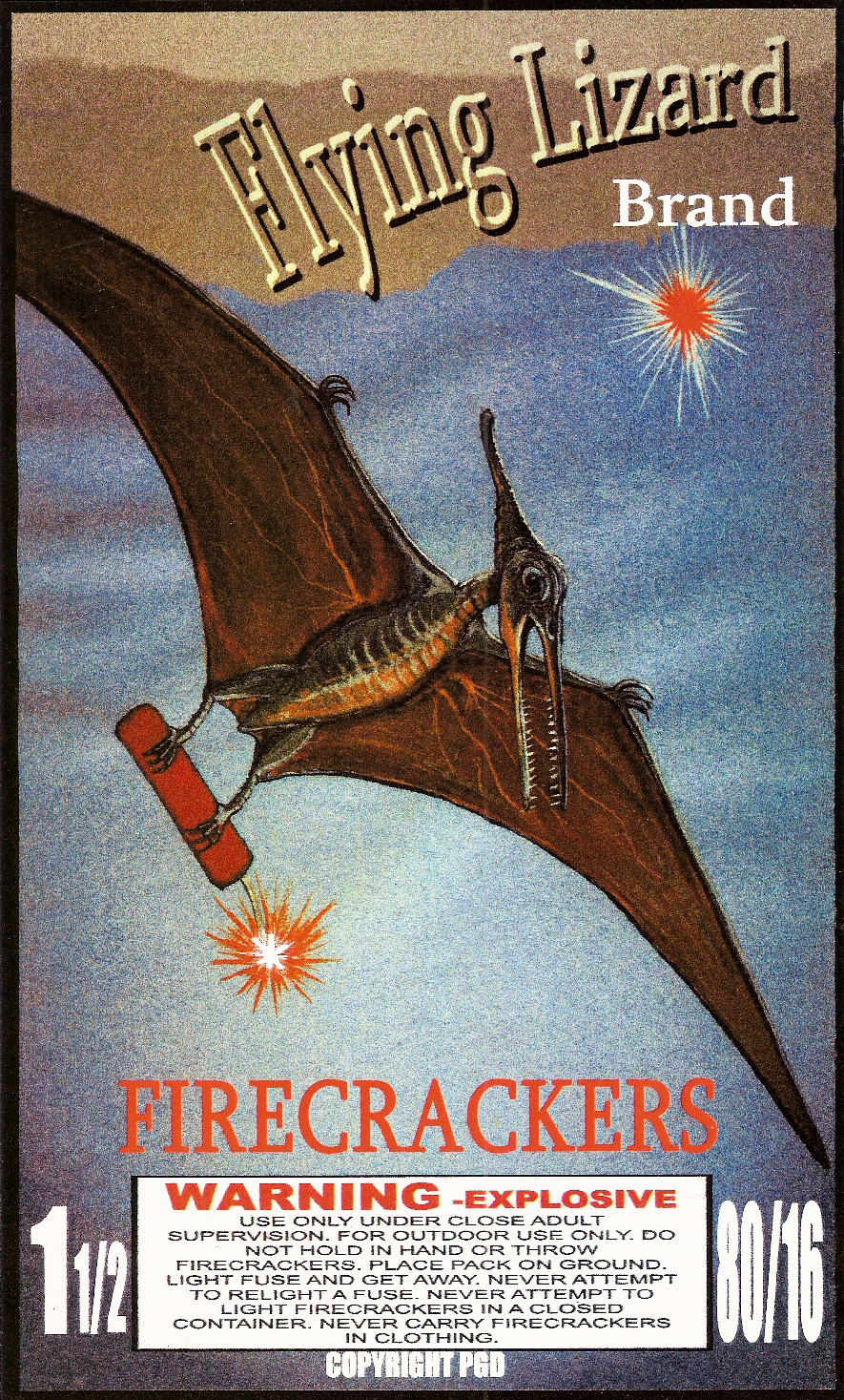 FLYING LIZARD - Firecracker Brick Label