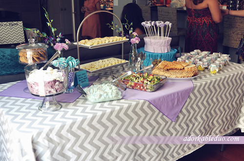 overall picture of the dessert and cold foods table for the gender reveal party - adorkableduo.com