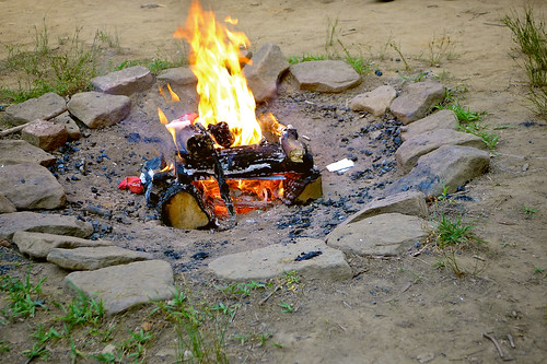 Campfire for flag retirement ceremony.