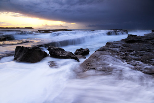 ocean sunset seascape sunrise rocks waves australia nsw newsouthwales surge kiama illawarra