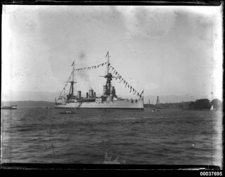 HMS NEW ZEALAND at naval buoy number 1 Farm Cove