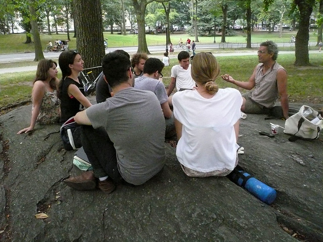 Andy Bichlbaum of The Yes Men meets with the New York Arts Practicum