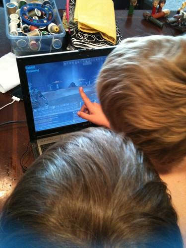The boys play EverQuest