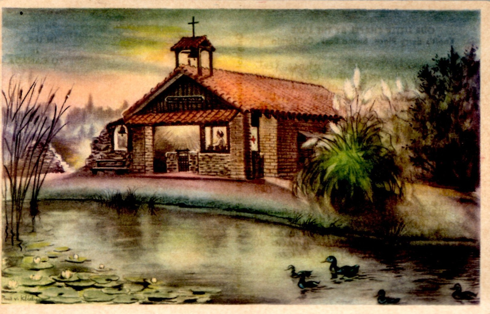 Our Little Chapel by the Lake, postcard, Knott's Berry Farm, circa 1944