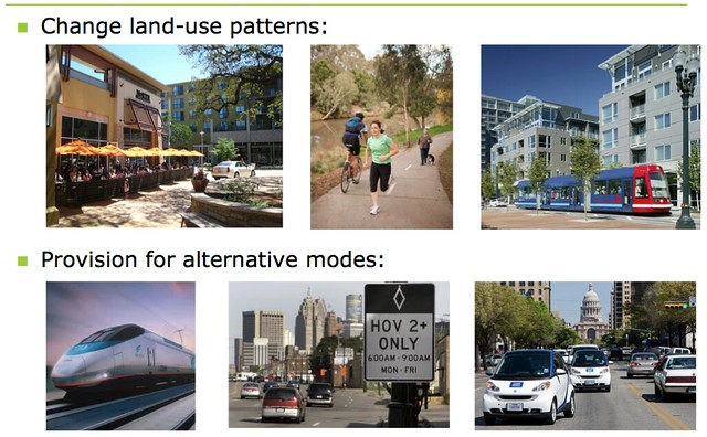 images that illustrate Change land-use patterns and 3 photos that illustrate Provision for alternative modes