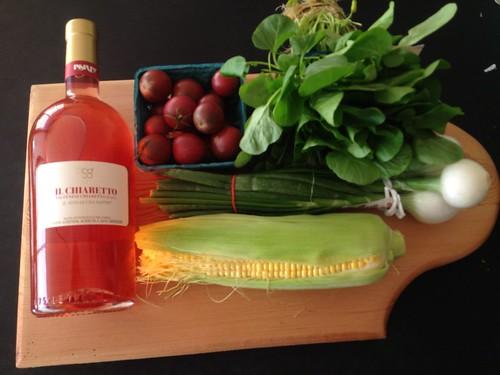 italian rose and fresh summer salad