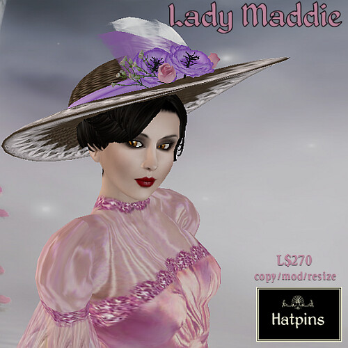 Hatpins - Lady Maddie - Purple