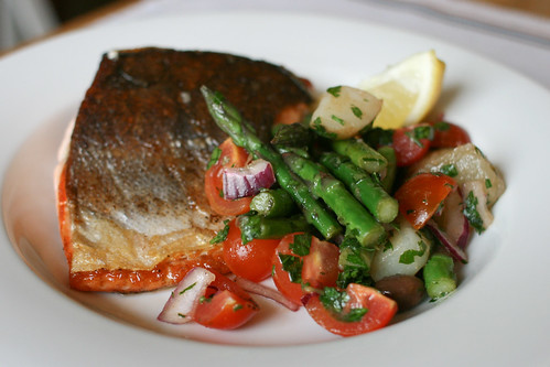 Sea Trout with Asparagus and Potato Salad