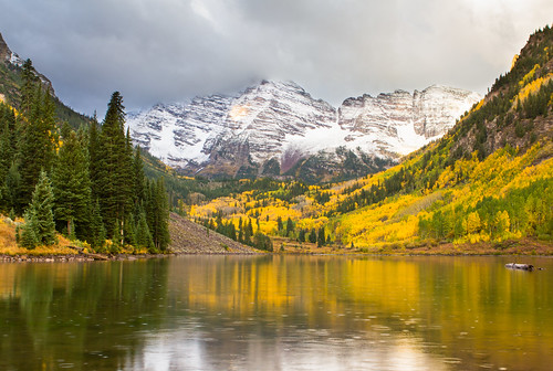 travel autumn trees snow mountains reflection fall rain sunrise landscape log colorado snowy aspen changingcolors maroonbells maroonlake jimboud jamesboud canoneos550d digitalrebelt2i