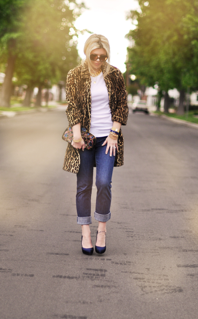 leopard coat and jeans
