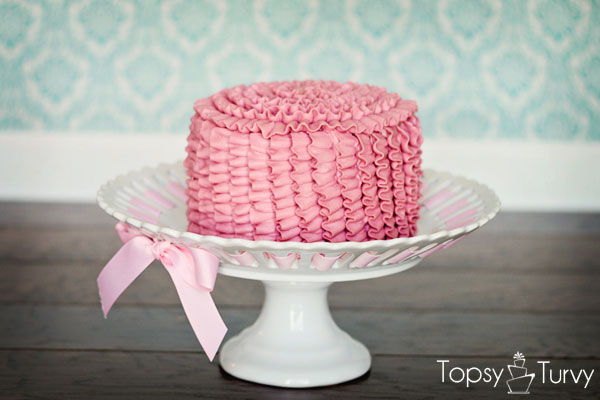 Pink Buttercream Ruffled Smash Cake Ashlee Marie Real
