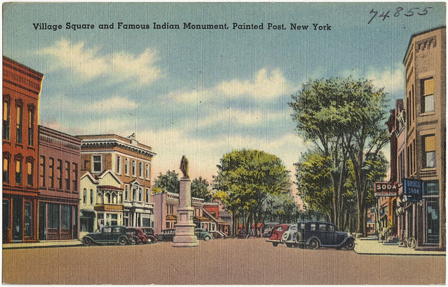 Village square and famous indian monument painted post for Painted post ny