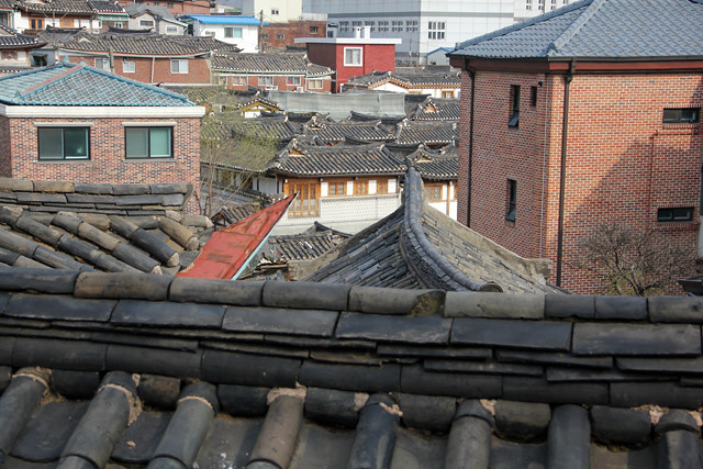 View of some of the ancient rooftops in the village