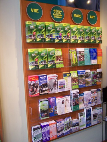 Information racks showing information on bicycling in the Commuter Store, Ballston, Arlington County