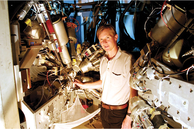 Ron Nelson of Neutron and Nuclear Science at the Los Alamos Neutron Science Center (LANSCE) stands near the center of the Germanium Array for Neutron-Induced Excitations (GEANIE).