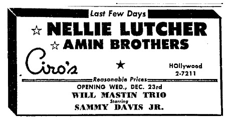Will Mastin Trio at Ciros Los Angeles Times Dec 16, 1953