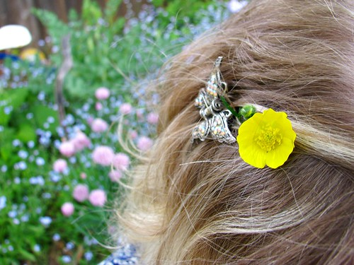 buttercup & butterfly in her hair