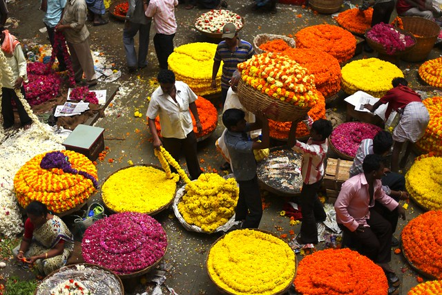 Flower market from above