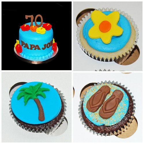 70th birthday Hawaiian themed cupcake tower - topper cake and cupcakes