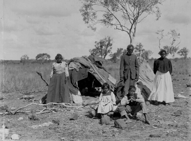 Aboriginal family living and working on Orion Downs  1907