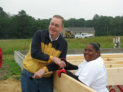 Under Secretary Dallas Tonsager visits with prospective homeowner Linda Diaz at a self-help housing subdivision in Laurel, Delaware. USDA helps thousands of limited-income families each year as they purchase or repair homes.