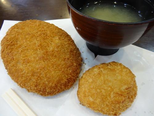 大仏コロッケ&白えびコロッケ&味噌汁 (DAIBUTSU croquette & white shrimp croquette & MISO soup)