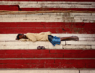 Sleeping on a ghat in Varanasi