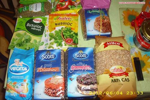 condimente bucatarie orez, grau, busuioc, vegeta