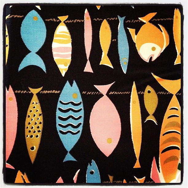 Vintage fish fabric from my granma's stash. #fabric #stash #sew #craft
