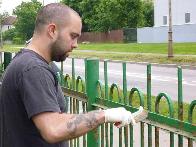 USS Bobo Sailors Paint a School Fence, June 27, 2012