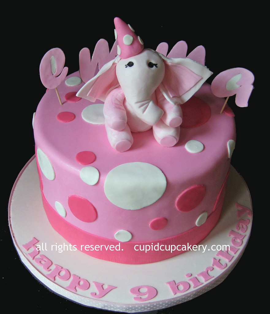 Pink Elephant Birthday Cake By Cupid Cupcakery