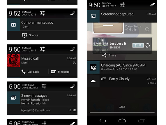 Android 4.1 Jelly Bean - Notification drawer