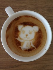 Today's latte, Momo the PostPet.
