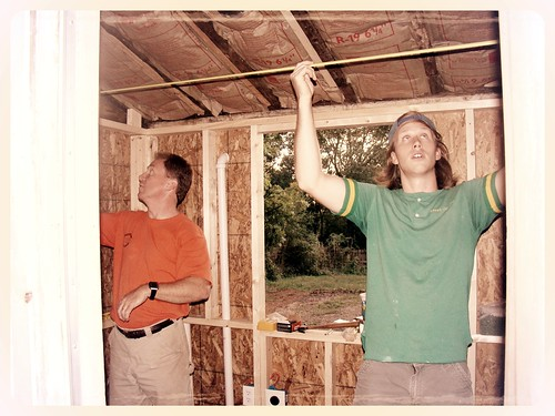 mikey & papa rebuilding the walls