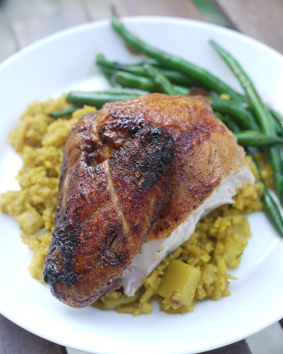 Pan roasted chicken, curry rice, green beans