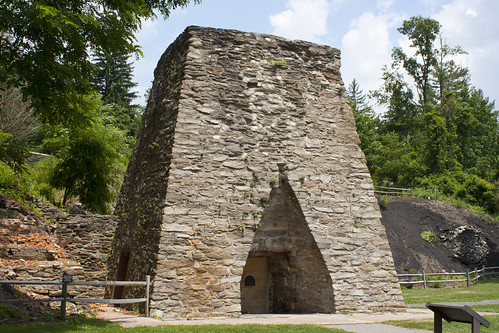 An impressive stone furnace stands at Pine Grove Furnace State Park, Pennsylvania.