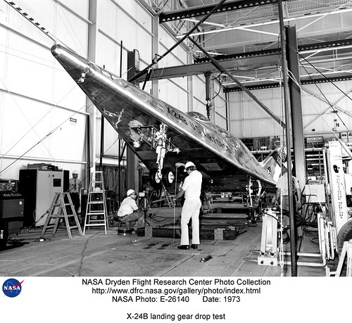 X-24B Landing Gear Drop Test - NASA Photo E-26140