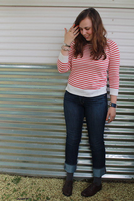 Le Petit Écolier outfit: Straight-leg Gap jeans, Wanted brown leather brogues, J.Crew