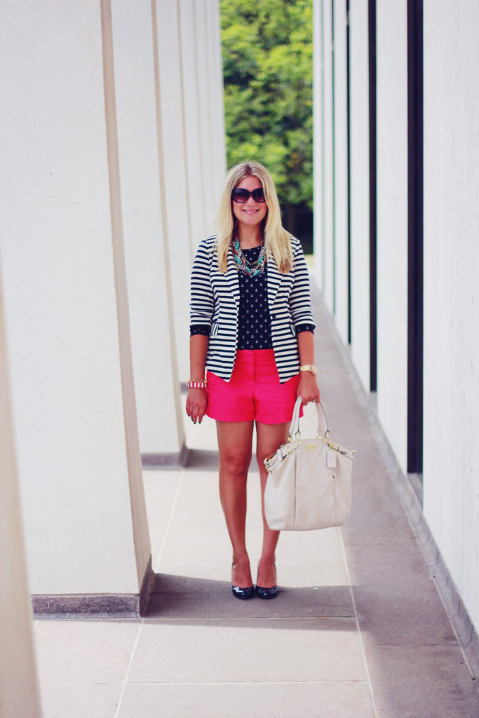 Anchors, Stripes, and Pink summer shorts outfit