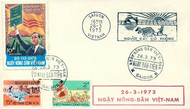 S. Vietnam FDC 26 Mar 1973 - The Vietnam Farmer Day. Ngay Nong Dan Viet Nam
