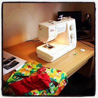 Testing out the new sewing area