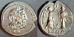 RRC 095/1b VB Jupiter Victory trophy Victoriatus. Uncertain Italian mint perhaps Vibo Valentia. 212-208BC. Small head.