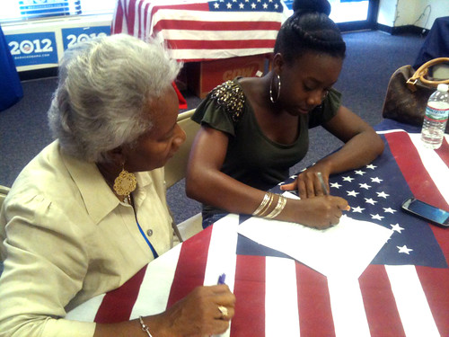 Harriet registered her granddaughter Jasmine to vote for the first time.