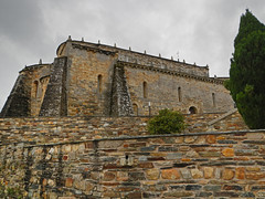 Church with three buttresses in San Martiño de Mondoñedo, Galicia, Spain