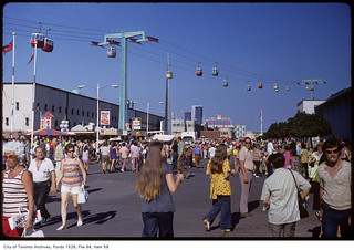 Crowds on CNE grounds and cable cars