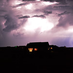 26. August 2016 - 21:02 - This small storm produced mostly cloud to cloud lightning every 45 seconds.  Note rain shafts near lightning.