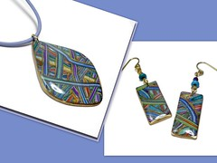 polymer clay Striped Multi-color Pendant & Earrings